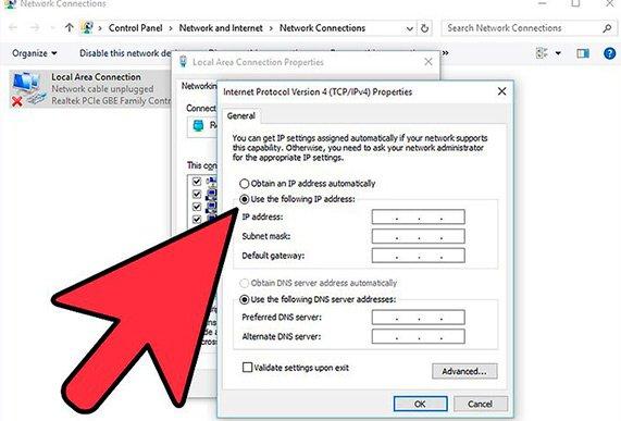 Настраивается dns адрес сервера в windows 10